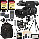 panasonic sd camcorder - Panasonic HC-X1000 4K-60p/50p Camcorder with High-Powered 20x Optical Zoom and Professional Functions, Transcend 128 GB U3 SDXC, 64GB Card + Polaroid Pro Video Microphone + VANGUARD Tripod Bundle
