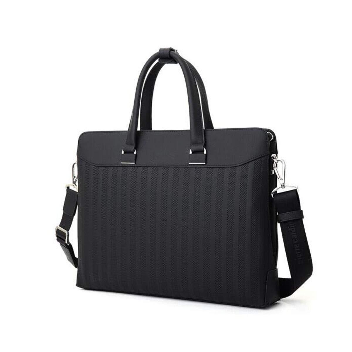 ブリーフケース、ビジネスメンズハンドバッグ、スエードレザーショルダーメッセンジャーバッグ、大容量コンピューターバッグ、ブラックサイズ:39 * 6.5 * 30 cm  ブラック B07R582FLJ