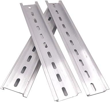 Erayco 2 Stück Din Schiene Aluminium Rohs 20 3 Cm Lang 35 Mm Breit 7 5 Mm Hoch Audio Hifi