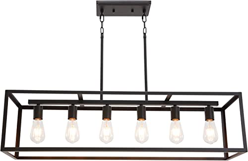 6 Light VINLUZ Classic Kitchen Island Pendnat Light Oil Rubbed Bronze Linear Adjustable Rectangle Chandelier for Dining Room Kitchen