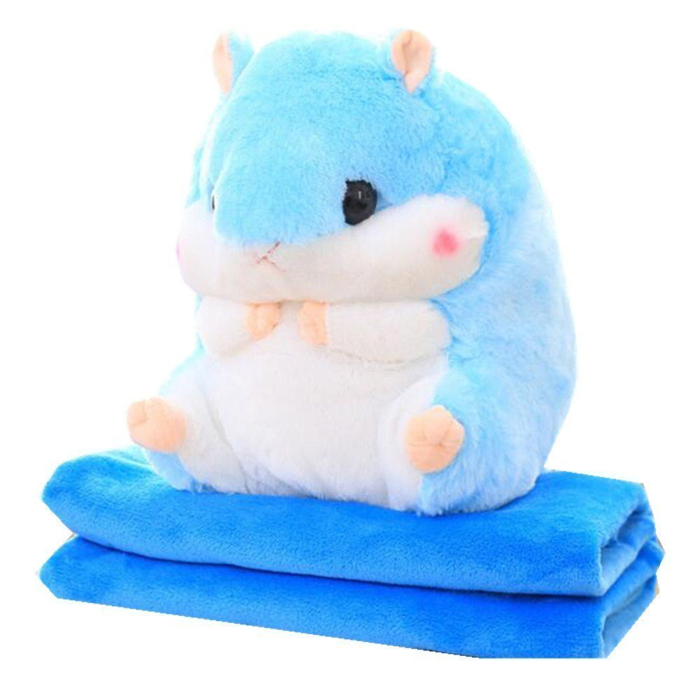 Kenmont 2 In 1 Cute Plush Hamster Stuffed Animal Toys Throw Pillow Blanket Set for baby kids (Hamster Toy and Blanket, Blue)