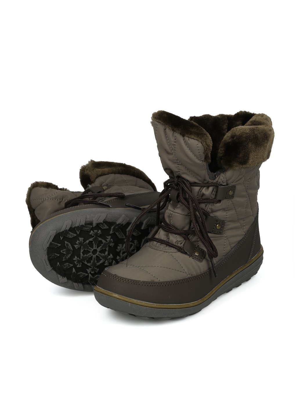 Alrisco Faux Fur Trim Lace up Outdoor Winter Boot HG06 B078MR6VND 5.5 M US|Olive Mix Media
