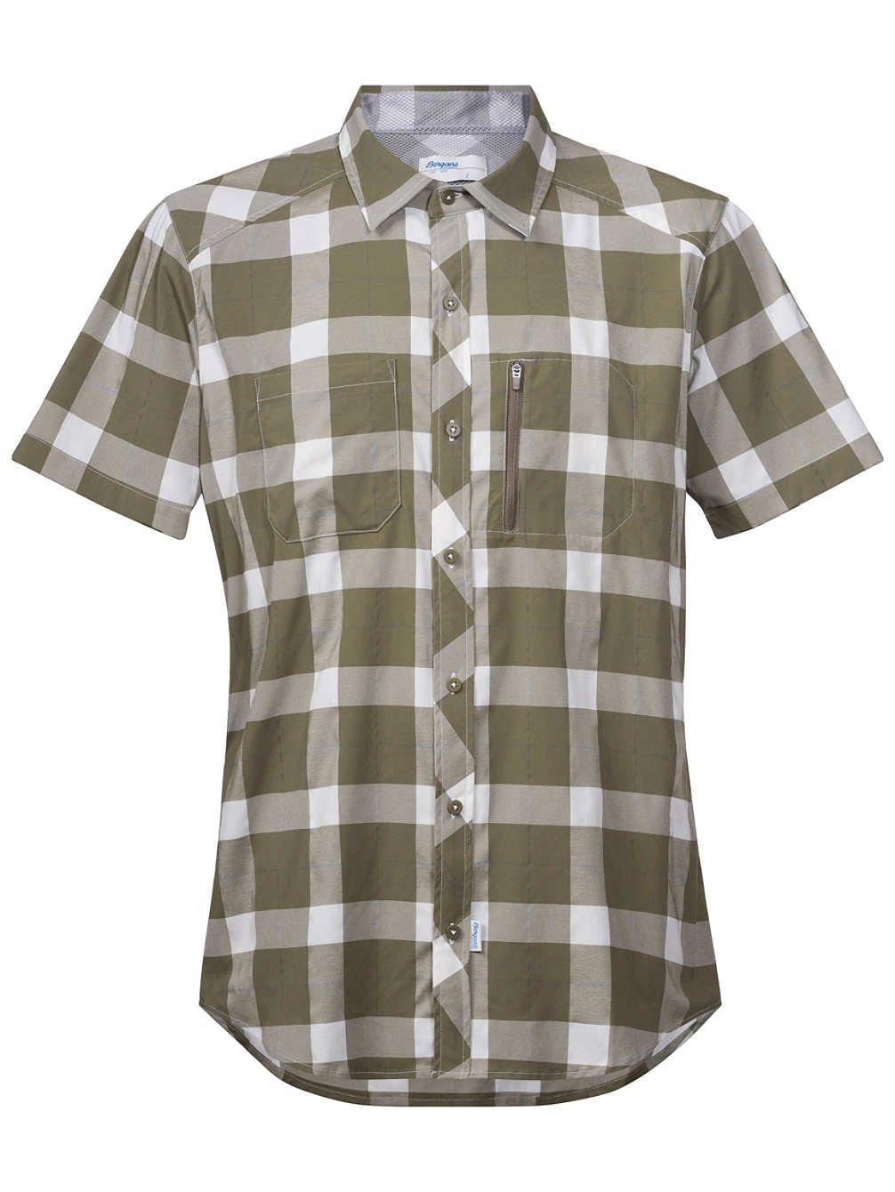 Khakivert blanc check S Bergans Jondal ajusté Chemise à Manches Courtes pour Homme Bleu Blanc 2017 ajusté T-Shirt à Manches Courtes