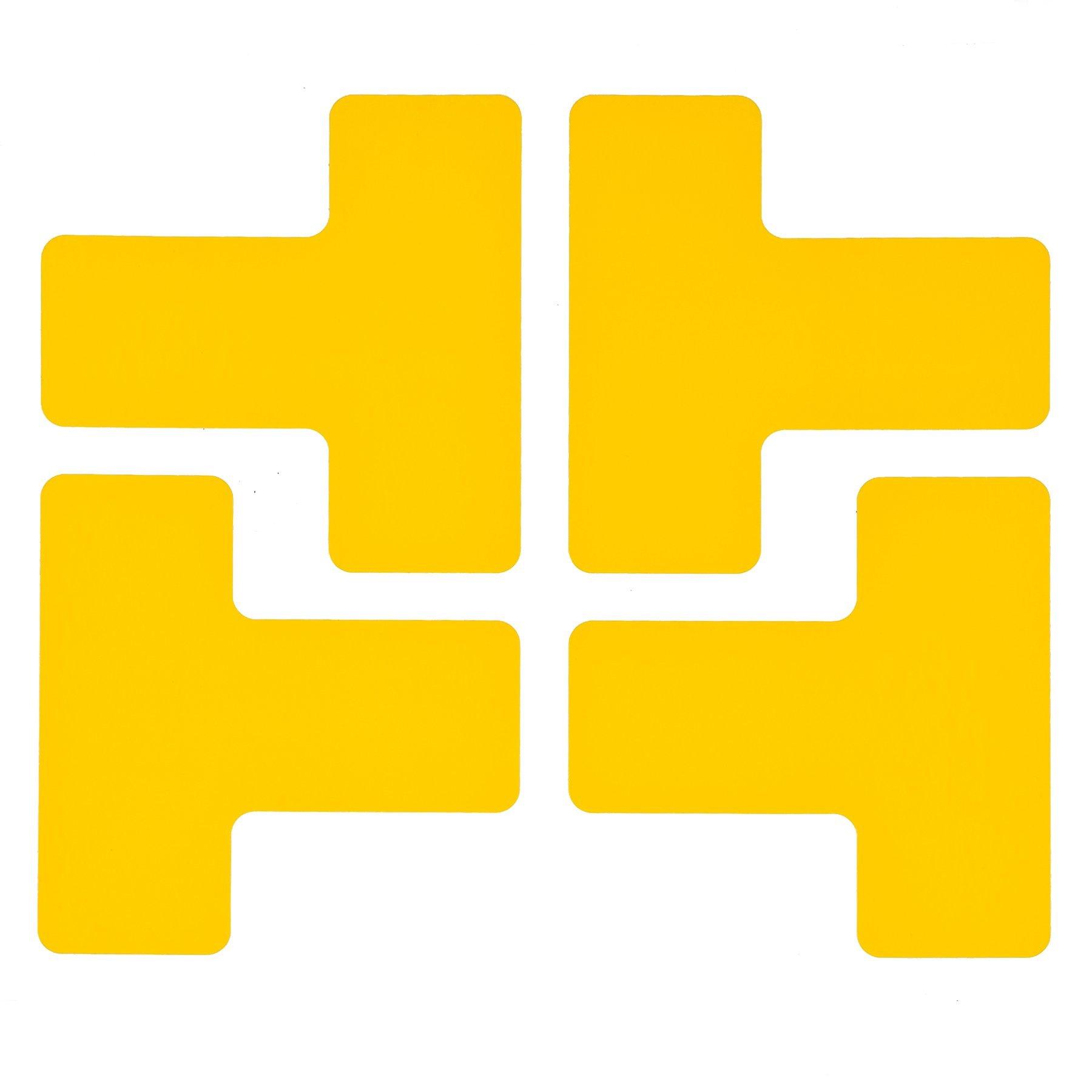 Brady ToughStripe Nonabrasive T Shape Floor Marking Tape, 5'' Length, 2'' Width, Yellow (Pack of 20 per Roll) - 104439