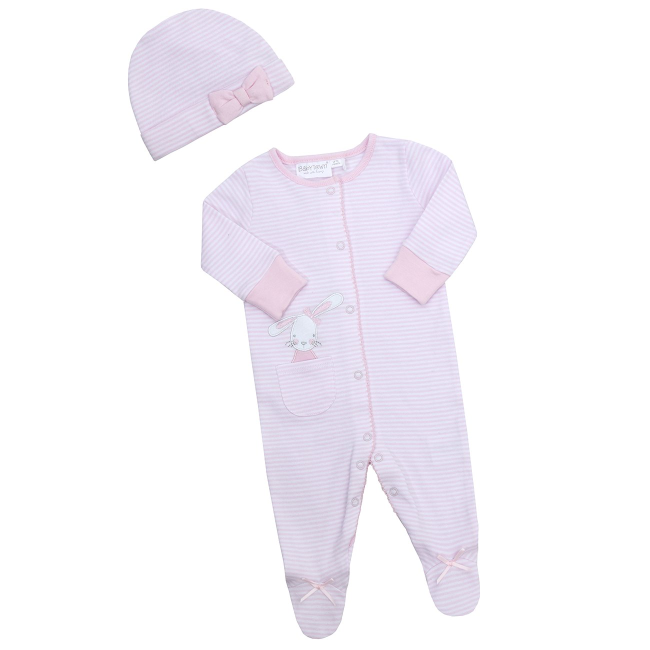 Babytown Baby Girls Bunny Sleepsuit Set 2 Piece Babygrow Cradle Cap Bundle