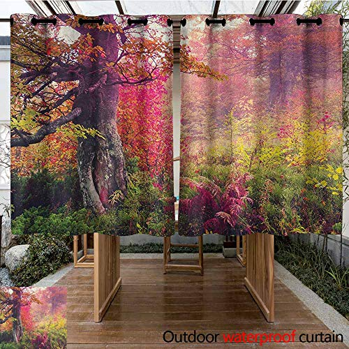 AndyTours Outdoor Curtain Panel for Patio,Forest,Fairy Majestic Landscape with Autumn Trees in Forest Natural Garden in Ukraine,Insulated with Grommet Curtains for Bedroom,K183C115 Red Green Brown