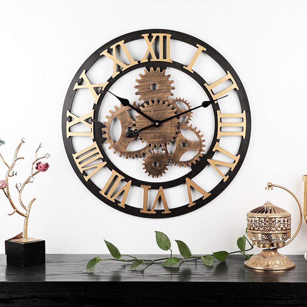 ABBD Reloj de Pared Industrial Grande números Romanos Vintage, Reloj clásico de números Romanos, Silencio 3D silencioso sin tictac Sala de Estar Colgando Relojes de Hierro Gold