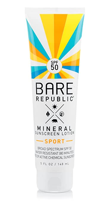 Bare Republic Mineral Sport SPF 50 Sunscreen Lotion, Natural Vanilla Coconut, 5 Fluid Ounce Best Reef-safe Sunscreen
