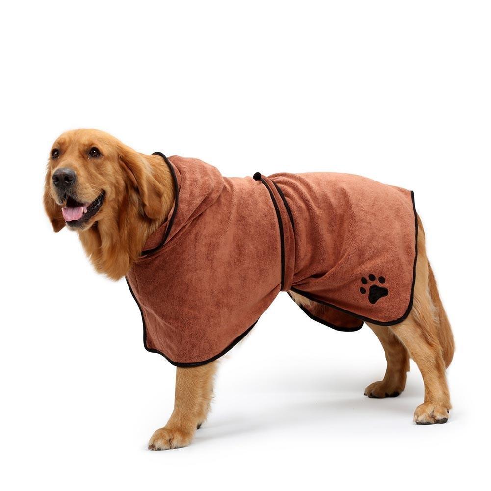 Demiawaking Accappatoio con Cappuccio Doccia per Cani e Gatti Domestici con Cintura in Vita Asciugamano da Bagno per Cani da Compagnia (Marrone, S)