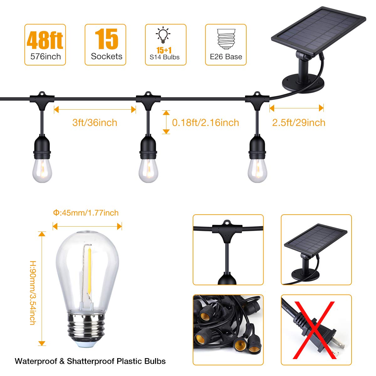 Foxlux Solar String Lights - 48FT LED Outdoor String Light - Shatterproof, Waterproof Pergola Lights - 15 Hanging Sockets, Light Sensor, S14 Edison Bulbs - Ambience for Patio, Backyard, Garden, Bistro by FOXLUX (Image #5)
