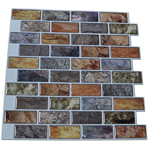 Art3d 10-Piece Peel & Stick Kitchen/Bathroom Backsplash Sticker, 12'' X 12'' Faux Ceramic Tile Design by Art3d (Image #5)