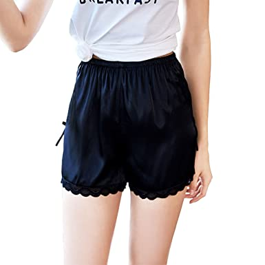 3e64b05e485 Asskyus Women's Sleep Shorts, 2 Pack Satin Lounge Shorts at Amazon ...