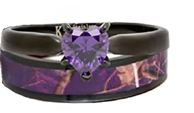 Black Plated Purple Camo Wedding Ring Set Purple Heart Engagement Rings  Hypoallergenic Titanium And Stainless Steel
