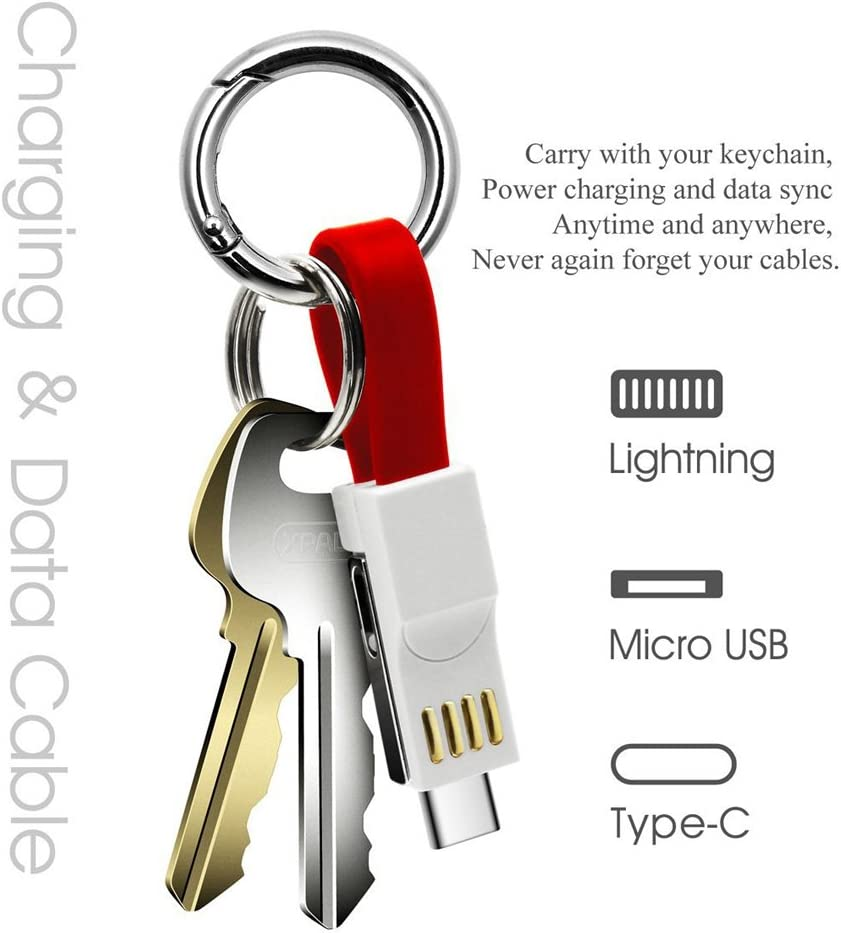 Lightning Keychain Charger Magnetic Portable Charging Cable Lightning Micro USB Type C 3 in 1 Multi Short Small Fast Charging Cord Compatible ios ...