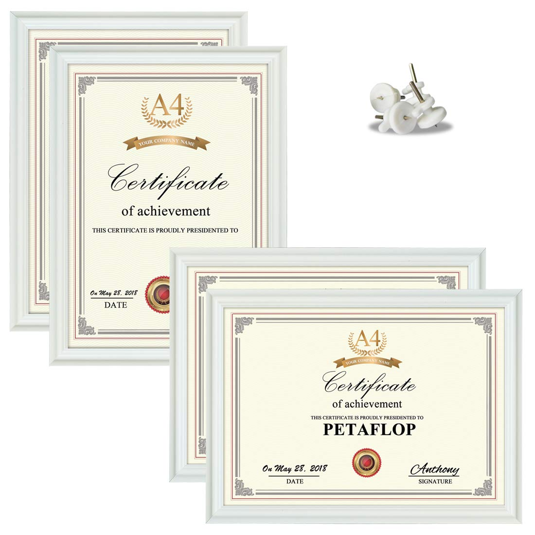 PETAFLOP A4 White Frames 21 x 29.7 cm Frame for Certificate Document Display 8 1/4 x 11 3/4 Inch Glass Covering, Set of 4