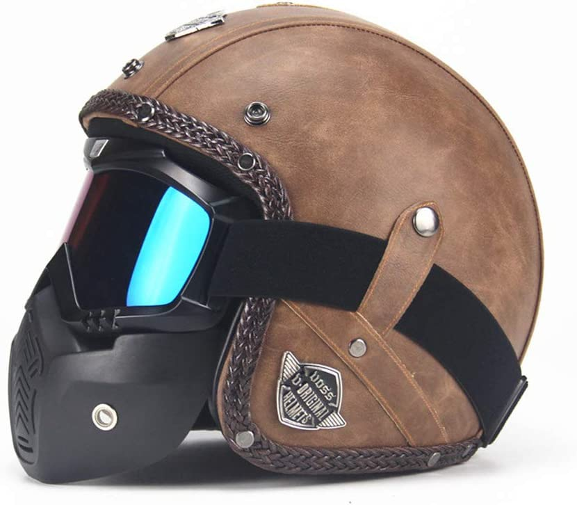 Brille MRDEER Vintage Motorradhelm Retro Handgemachtes PU-Leder Integralhelm Helm Unisex Full-face Scooter-Helm Roller Sturz-Helm mit Visier Maske M,L,XL,XXL