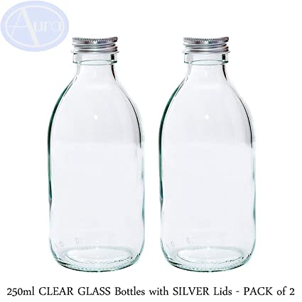 250 ml Claro botellas de vidrio con tapa de color plateado – Pack de 2