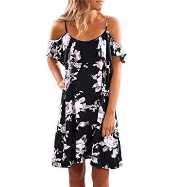 6b9a702877 Tkria Women's Summer Cold Shoulder Midi Dress Adjustable Spaghetti Floral  A-Line Swing Chiffon Dress at Amazon Women's Clothing store: