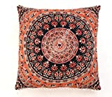 Indian 100% Cotton Mandala Cushion Cover Meditation Floor Cushion Cover Home Decor Ethnic Pillow Sham Large Pom Pom Lace Square Couch Pillow Cover Outdoor Pillow Cases Euro Sham Pillow Cover