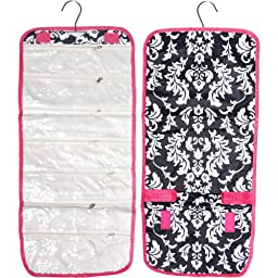 Popular Damask Hanging Jewelry Hanger Travel Bag Roll Organizer Back To College Essential Accessories Unique Gift Ideas Travel TravelNut