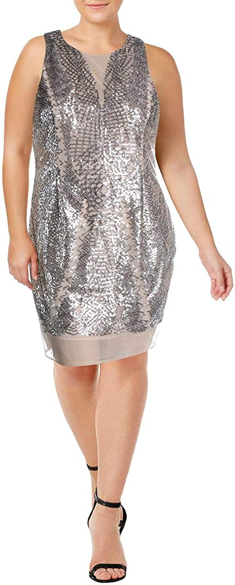 Laundry by Shelli Segal Womens Mesh Sequined Cocktail Dress