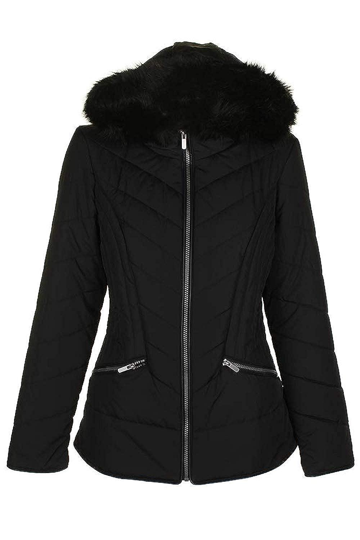Celebrity Pink Juniors Faux-Fur-Trim Puffer Jacket (Black, Large)