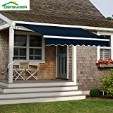 Diensweek Patio Awning Retractable Manual Commercial Grade - Quality 100% 280G Ployester Window Door Sunshade - Deck Canopy Balcony P100 Series 2 Years Warranty (10'x7', Navy Blue)