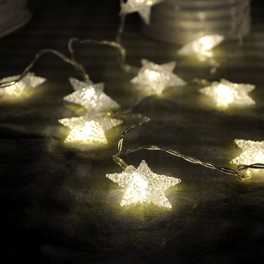 STARSHINE Battery Powered Warm White Star Shaped LED Fairy Lights ...