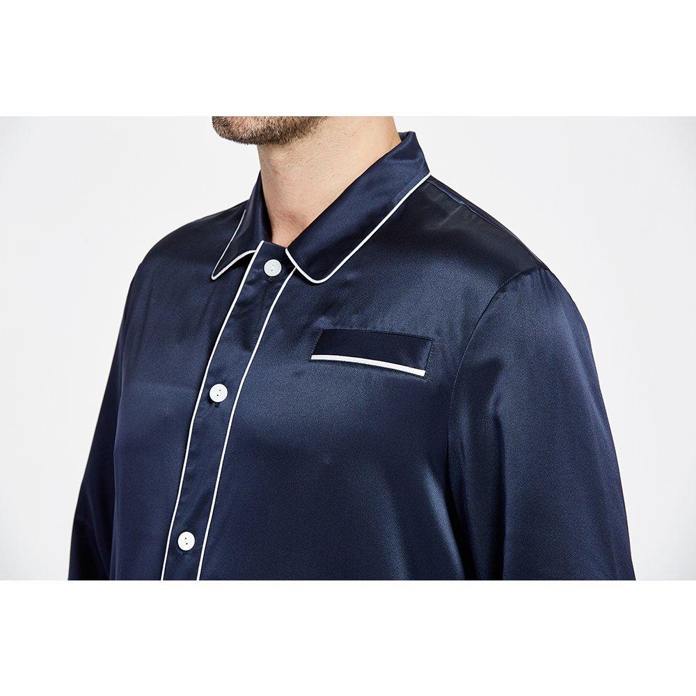 LilySilk Silk Pajamas Set For Men Summer 22 Momme Most Comfortable Sleepwear Navy Blue L by LilySilk (Image #5)