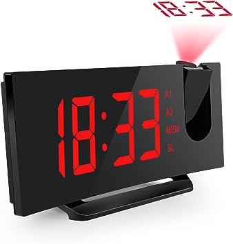 Mpow - Reloj despertador con proyección de la hora, radio FM con ...