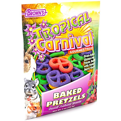 Tropical Carnival F.M. Brown's Baked Pretzels Treat Small Animals, 2-oz Bag - Gluten Free Chewing Treat Improved Tooth Gum Health ()