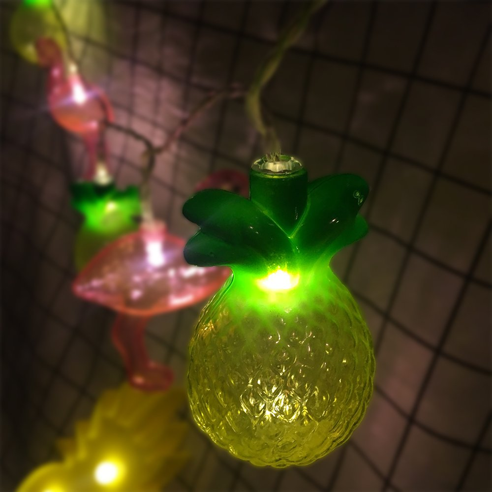 AceList 10 LED Tropical Pink Flamingo Pineapple Fairy String Lights Battery Operated for Wedding Garden Christmas Party Indoor Kids Desration