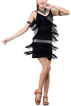 5e93f386c5b Whitewed Beading Tassel 20s Great Gatsby Flapper Style Party Prom Dresses  Black