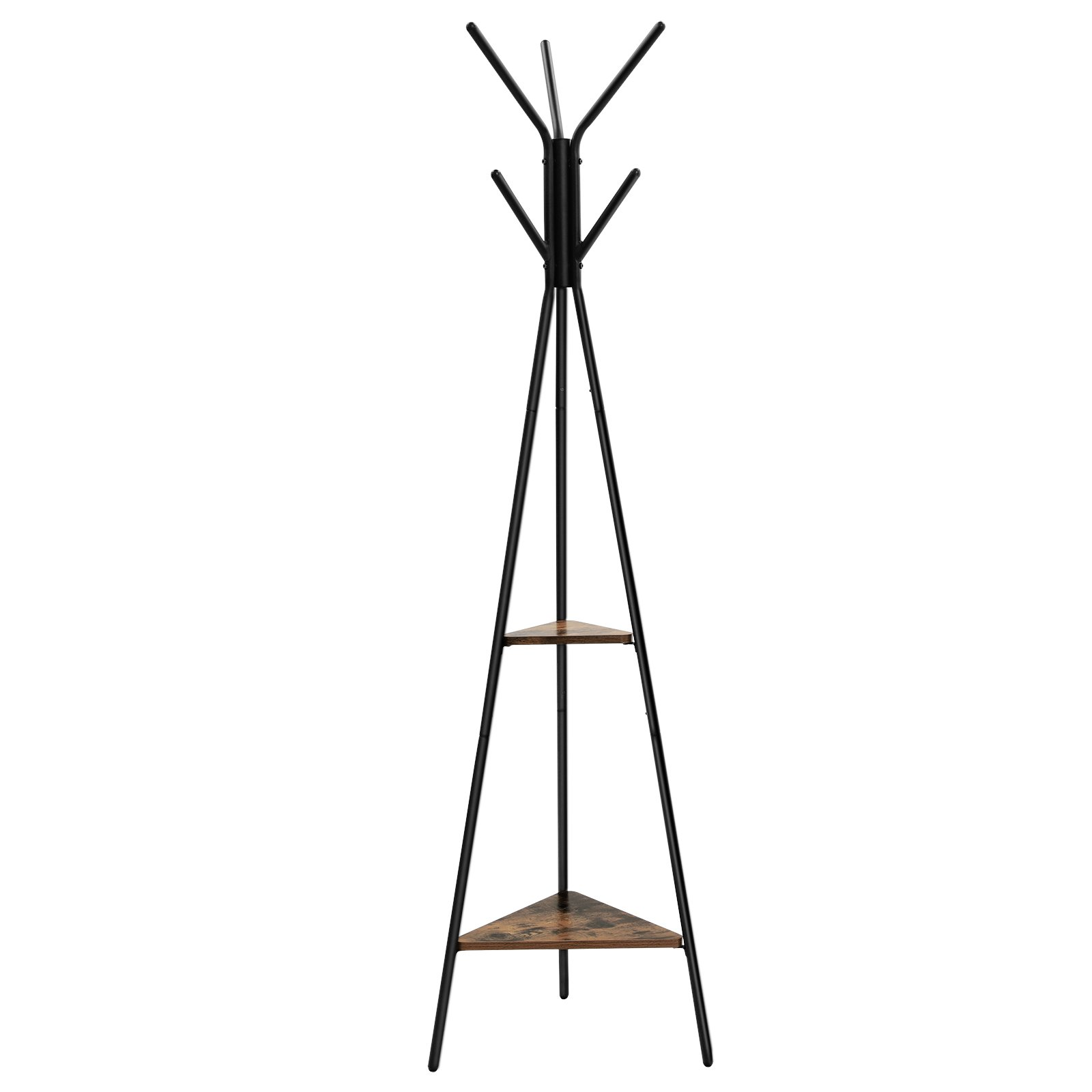 SONGMICS Coat Rack Stand, Coat Tree, Hall Tree Free Standing, Industrial Style, with 2 Shelves, for Clothes, Hat, Bag, Black, Vintage, URCR16BX