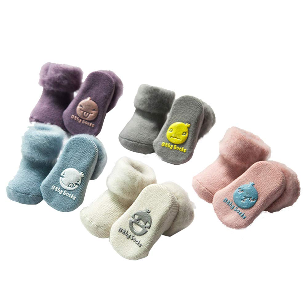 dkDaKanl 5 Pack Cotton Baby Warm Winter Socks Unisex Newborn Toddler Anti-slip Socks Cartoon Design,6-12M