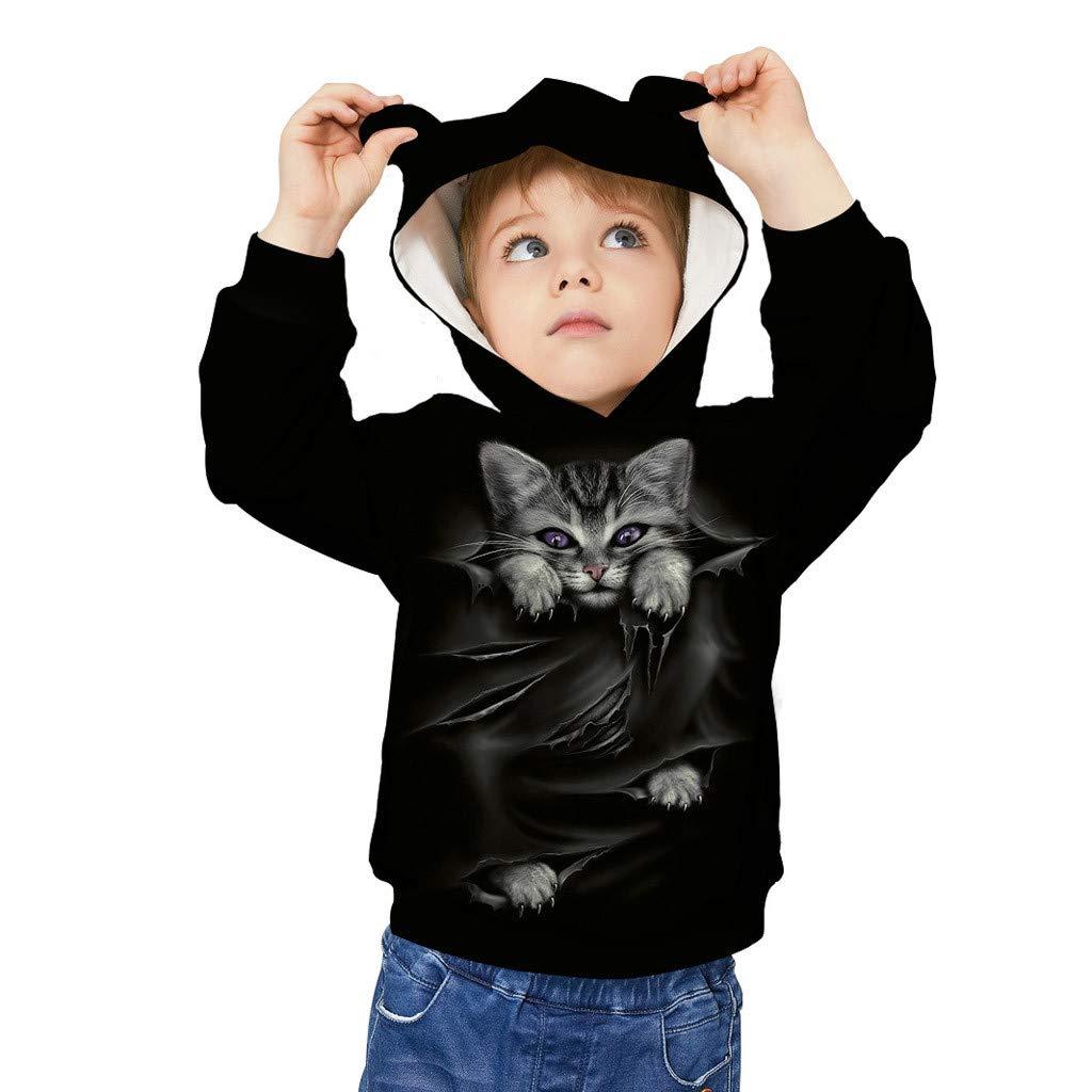 Kids 3D Print Cat Ear Cartoon Animal Sweatshirt Pullover Pocket Hoodie Sweater,SIN vimklo
