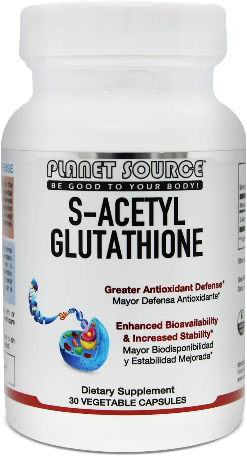 Planet Source S-Acetyl GLUTATHIONE 200 MGS per Serving 30 Vegetable Capsules Made in The USA. Superior from of Glutathione