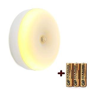 Motion Sensor Night Light, Battery Powered LED Step Light (Including Batteries), Stick on Anywhere, Wall Light, Magnet Closet Lights, Safe Lights for Stairs, Hallway, Bathroom