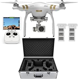 DJI Phantom 3 Professional Quadcopter Aircraft, 3-Axis Gimbal & 4K UHD Video Camera, Remote Controller Included - Bundle with Extra Battery, Aluminum Case