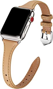 WFEAGL Leather Bands Compatible with Apple Watch 38mm 40mm 42mm 44mm, Top Grain Leather Band Slim & Thin Replacement Wristband for iWatch SE & Series 6/5/4/3/2/1(Camel Band+Silver Adapter,38mm 40mm)