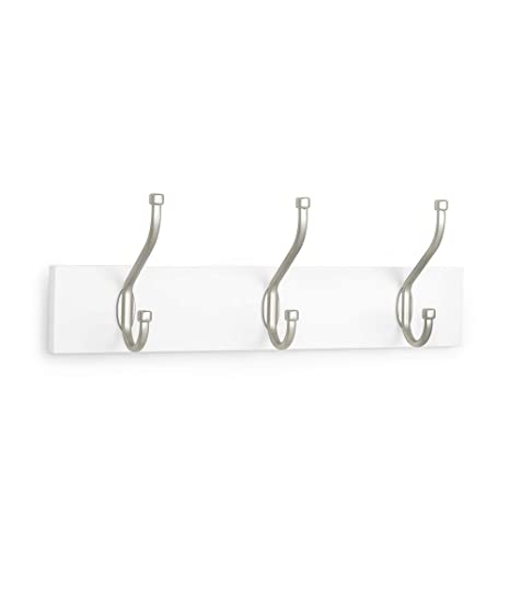 AmazonBasics - Perchero de pared, 3 ganchos estándar, Blanco ...