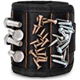Magnetic Wristband, Super Strong Magnets Holds Screws, Nails, Drill Bits, A Black DIY Magnet Wristband, A Unique and Cool Gift Item for - Men/Women, Dad, Guys, Husband, Boyfriend, Him and Birthdays