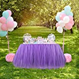 Aytai TUTU Table Skirt Tulle Tableware Queen Handmade Table Cloth Skirting Romantic for Wedding Christmas Party Baby Shower Birthday Cake Table Girl Princess Deco (1, Lavender)