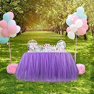 Aytai TUTU Table Skirt Tulle Tableware Queen Handmade Table Cloth Skirting Romantic for Wedding Christmas Party Baby Shower Birthday Cake Table Girl Princess Deco (1, Lavender)