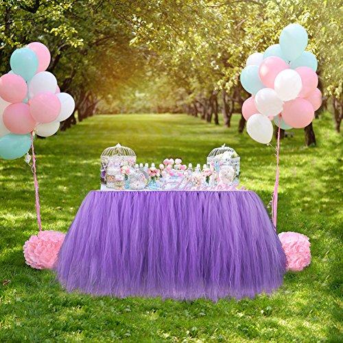 Aytai TUTU Table Skirt Tulle Tableware Queen Handmade Table Cloth Skirting  Romantic For Wedding Christmas Party Baby Shower Birthday Cake Table Girl  ...