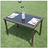 MD Group Table 43'' Glass Rectangular PE Wicker Rattan Contemporary Style Outdoor Furniture