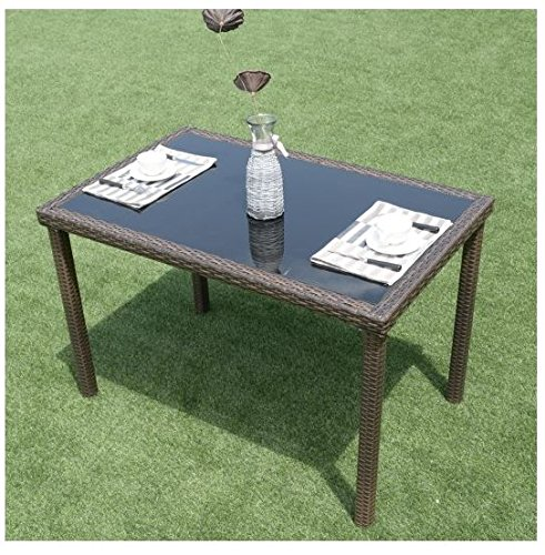 MD Group Table 43'' Glass Rectangular PE Wicker Rattan Contemporary Style Outdoor Furniture by MD Group