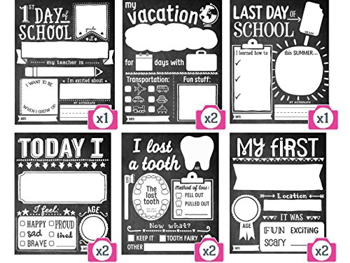 School Days Memory Box - Sticky Bellies School Milestones Signs - Box Set of 10 - First Day of School Sign PLUS BONUS CARDS