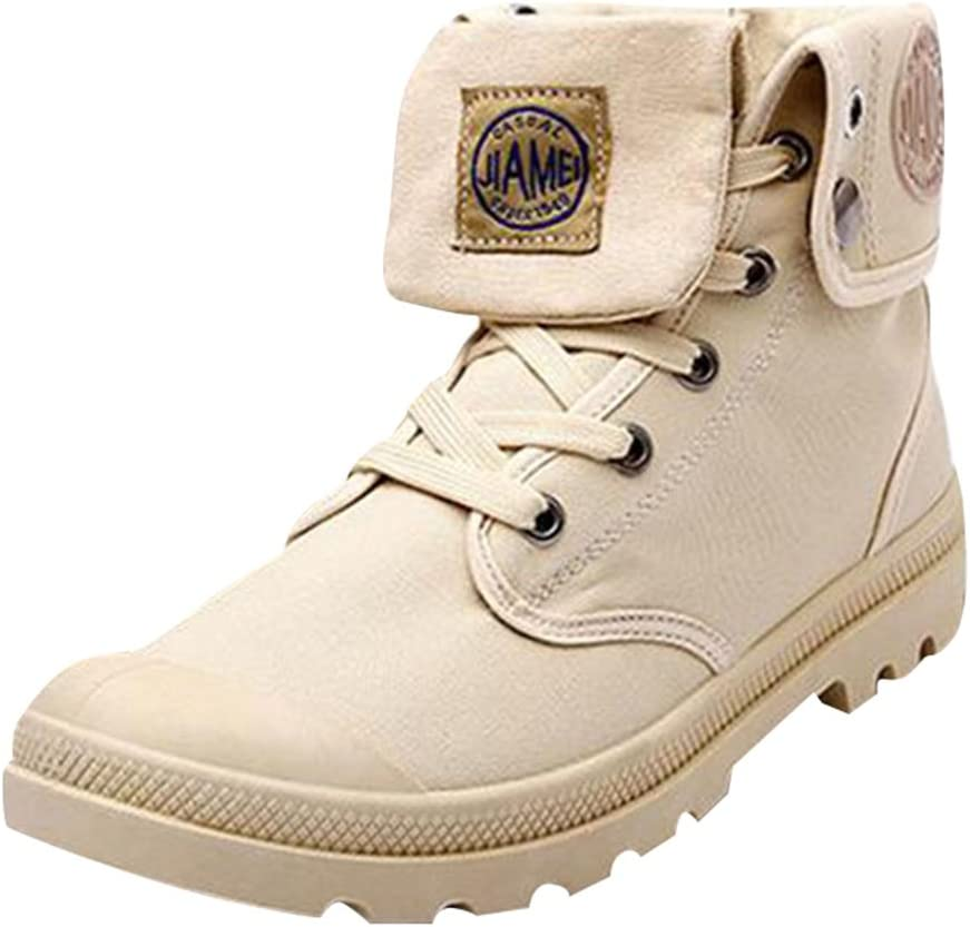 hibote Men Outdoor High Boots Combat Boots Multifunction Desert Hiking Shoes Linen Shoes Canvas Shoes Sneaker