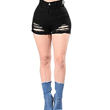 Rela Bota High Waist Butt Lifting Push Up Ripped Distressed Denim Shorts  Small Black e6cf017de